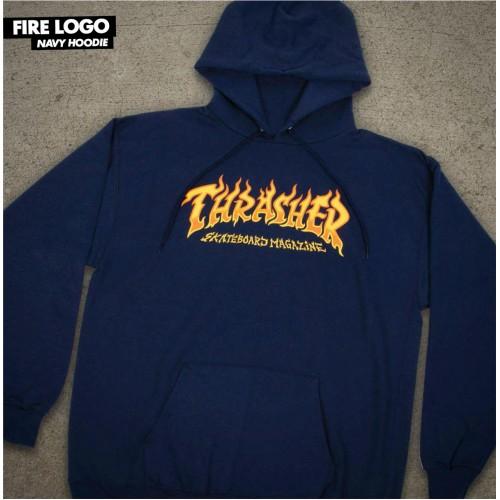 Thrasher mikina Fire Logo Navy Spring 21