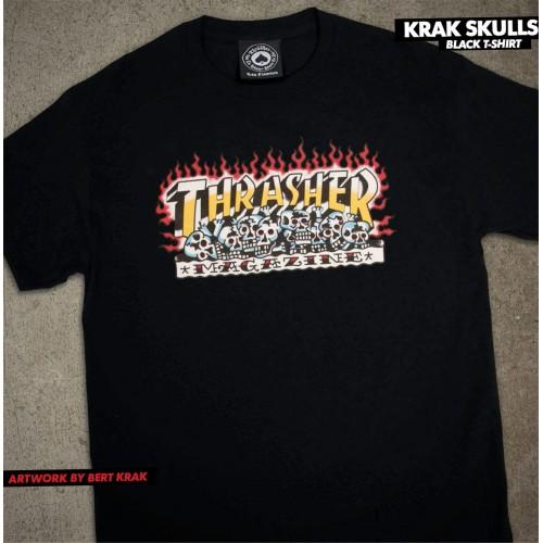 Thrasher triko Krak Skull Black Spring 21